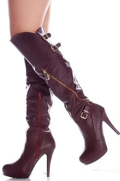 WINE SIDE ZIPPER BUCKLE ACCENTS FAUX LEATHER OVER THE KNEE HIGH HEEL BOOTS,Women's Boots-Sexy Boots,Heel Boots,Flat Boots,Over The Knee Boots,Knee High Boots,Thigh High Boots,Fringe Boots,Suede Fringe Boots,Rider Boots,Combat Boots,High Heel Boots,Platform Boots,Black Suede Boots,Gladiator Boots,Leather Boots,Wide Calf Boots