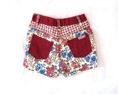 vintage 1990s jean shorts // children girl // patchwork // burgundy red // floral print // size 8