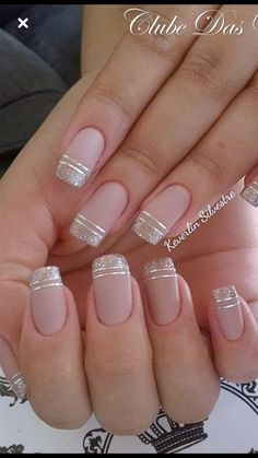nails - NagelDesign Elegant ( Maravilhosa Caroline Fo ) caroline elegant manicure maravilhosa na Cute Acrylic Nails, Cute Nails, Pretty Nails, My Nails, Gold Tip Nails, Acrylic Tips, Bridal Nails, Wedding Nails, Nail Polish Designs