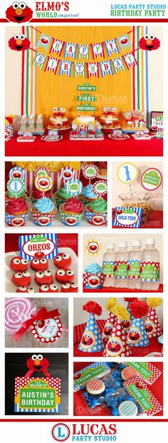 Elmo Sesame Street Inspired Birthday Party by LucasPartyStudio Second Birthday Ideas, Elmo Birthday, Baby 1st Birthday, First Birthday Parties, Birthday Party Themes, First Birthdays, Monster Party, Elmo Party, Mario Party