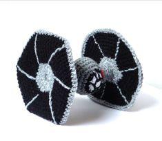 crocheted TIE fighter    http://www.etsy.com/listing/71201893/crochet-amigurumi-star-wars-tie-fighter