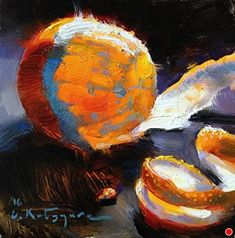 Luminescent Orange by Elena Katsyura Oil ~ 6 in x 6 in
