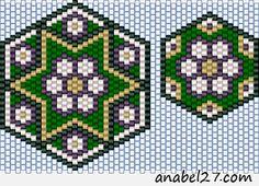 Схема (кулон + серьги) - мозаичное плетение