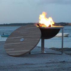 Le brasero inox ZOUM et son couvercle bois / Fabriqué en Bretagne, très beau mais très cher aussi... le prix de la qualité, quoi !