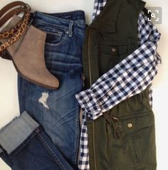 Olive Vest, J. Crew GIngham, Lucky Brand Booties, Vigoss Thompson, Shop the look (affiliate) Mode Outfits, Casual Outfits, Fashion Outfits, Womens Fashion, Vest Outfits, J Crew Outfits, Preppy Fall Outfits, Fall Winter Outfits, Autumn Winter Fashion