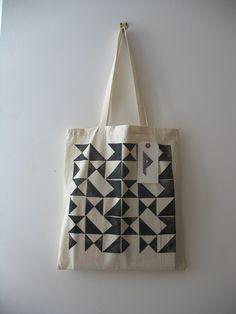 Signals - hand printed cotton tote bag (black)