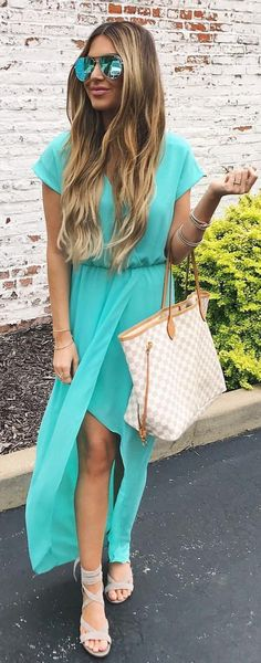 #summer #outfits  Sunday Best ☀️☀️☀️I'm In Love With The Color Of This Wrap Dress ($88)  We're Enjoying This Long Weekend Visiting With Family!  I Hope Everyone Is Having A Fun Weekend