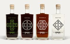 "randing and packaging design for a range of premium spirits.  The branding consists of a strong, yet organic and versatile logo that transforms each time into a unique shape, without losing the brand's identity, to convey the essence of the basic ingredient: a hexagon for the honey-based ""Rakomelo"", a cross for the monastic ""Herb Spirit"", a circle for the cinnamon-based ""Tentura"" and a rhombus for the ""Mastiha"".  All for one and one for all. Bob Studio."