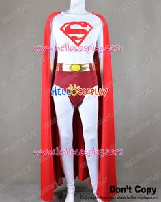 Superman Clark Kent White Jumpsuit Costume Red Cape