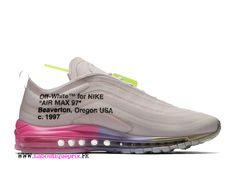 on sale 6b0a0 8d2a1 Off White x Nike Air Max 97 Rose AJ4585-600 Chaussures de basket pas cher