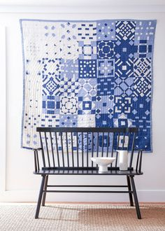 Quilt by Thompson Street Studio Cute Quilts, Scrappy Quilts, Quilting Projects, Quilting Designs, Monochromatic Quilt, Farm Quilt, Two Color Quilts, Patchwork Quilt Patterns, Sampler Quilts