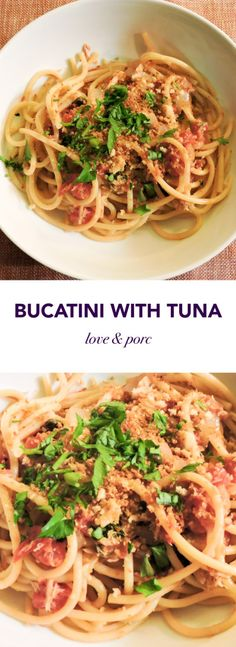 Pasta with Tuna -- perfect weekday meal and an easy way to incorporate more seafood into your diet! #pasta #tuna #seafood #italian