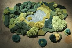 Argentine artist from Buenos Aires, Alexandra Kehayoglou crafts wool rugs as unique works of art using a hand-tufting process that takes several months to Wool Carpet, Rugs On Carpet, Plush Carpet, Shag Carpet, Deco Nature, Deco Originale, Argentine, Forest Floor, Green Carpet