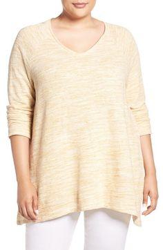 Caslon® Handkerchief Hem V-Neck Sweater (Plus Size)
