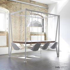 Swing Table – a table with rocking chairs – TimeForDeco.com QUE DIVERTIDO!!! PARA LOS QUE NO DEJAMOS DE SER NIÑOS!!