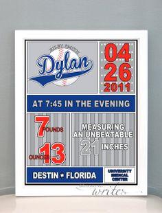 Baseball Theme  Custom Birth Stat Print by braggingwrites on Etsy, $15.00