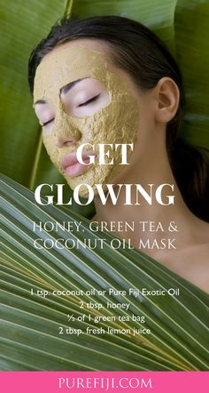 Honey, #GreenTea & #CoconutOil Face Mask For #RadiantSkin This combination of anti-oxidant rich green tea, soothing coconut oil, lemon and detoxifying honey will leave your skin feeling moisturized and radiant. Click here for more homemade recipes from #PureFiji blog. | #NaturalSkinCareProducts for #NaturalBeauty #SkinCareTips #SkinCareRegimen #SkinCareRoutine