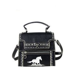 MWS12-001 Montana West Horse Collection Messenger Handbag-Black - Handbags, Bling & More!