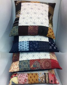 Kate's Gorgeous Sashiko Cushions!! Completed here at BeBe Bold using kofu pre cut squares www.bebebold.com