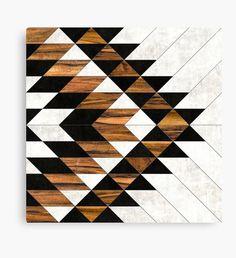 """Urban Tribal Pattern 5 - Aztec - Concrete and Wood"" Canvas Prints by Zoltan Ratko | Redbubble"