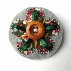 Flower Brooch or Bag Charm - Felt - Grey and Green Floral £5.95