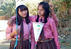 Mizo school girls of Hnahthial, Lunglei DIstrict, Mizoram, India Girl Photos, Asian Beauty, Middle School, Supermodels, Girls Dresses, Celebrities, Hair Styles, Sexy, Cute