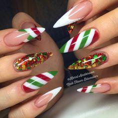 Christmas Nails – 36 Beautiful And Stylish Christmas Stiletto Nail Art Designs; Holiday Nail Art, Christmas Nail Art Designs, Christmas Decorations, Holiday Candy, Christmas Candy, Long Nail Art, Long Nails, Xmas Nails, Glitter Nails
