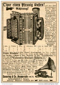Original-Werbung/Inserat/ Anzeige 1909 - HARMONIKA/PHONOGRAPH - SEVERING NEUENRADE- ca. 75 x 100 mm
