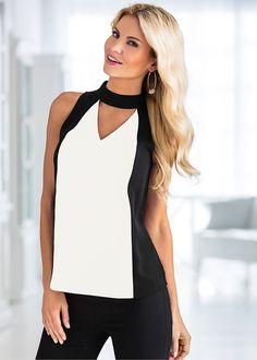 Blusa decote V preto/branco encomendar agora na loja on-line bonprix.de R$ 99,90 a partir de Blusa decote V, na frente e nas costas, com recorte em preto e ...