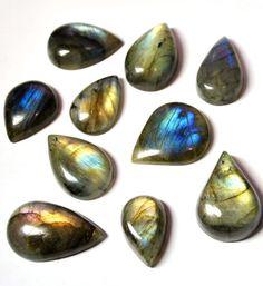 Labradorite Gemstone Cabochons Tear Drop AAA  10 pcs by AliveGems, $31.00