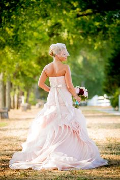 Country Chic Bride in a Pretty Vera Wang Blush Pink Gown| Photo by: nashvilleweddingphotography.com