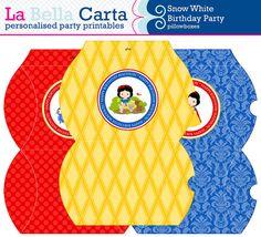 Snow White Personalised Pillow Boxes, Snow White Birthday, Printable Party, DIY Party, Girls Printable Party, Part Decor