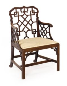 A Rare Pair of George III Carved Mahogany 'Chinese' Arm Chairs Circa 1765 - Sotheby's