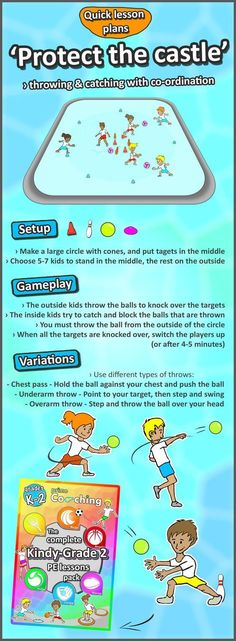 The best PE lesson ideas - Develop your kids throwing and catching with this awesome game • Protect the castle • Check out the site for more sport activities #soccerworkoutsforkids