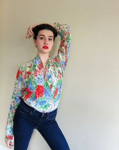 Vintage 1980s Floral Print Silk Multicolored Silk Blouse / Sanyo Fashion House 80s Shirt in Painterly Graphics / Large by BasyaBerkman on Etsy