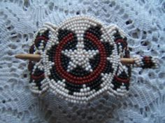 Beautiful Handcrafted Beaded Hair Barrette and Stick | eBay (Navajo wedding basket design)