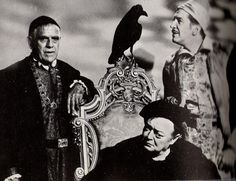 Boris Karloff, Peter Lorre and Vincent Price. Promo shot for 'The Raven'.