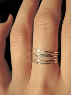 5 sterling silver teeny tiny delicate stacking rings / Everyday jewelry ($24.00) - Svpply