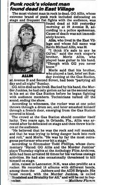 To bad he had to leave so soon but it was destined that way Rip GG Allin