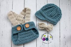 Crochet Newborn hat baby boy hat newsboy hat set by Stephyscrochet, $40.00