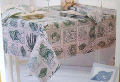 Coastal Aqua Seashell Tablecloths Assorted Sizes Nautical | Home U0026 Garden,  Kitchen, Dining U0026