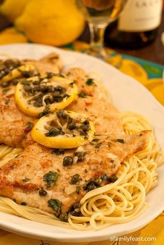 A delicious and easy chicken piccata made with chicken, lemon, capers, chicken broth and vermouth.