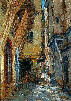 Peinture d'Algérie - Peintre Français, RENÉ HANIN (1871-1943), Huile sur panneau 1927, Titre : RUE KLÉBER, ALGER.