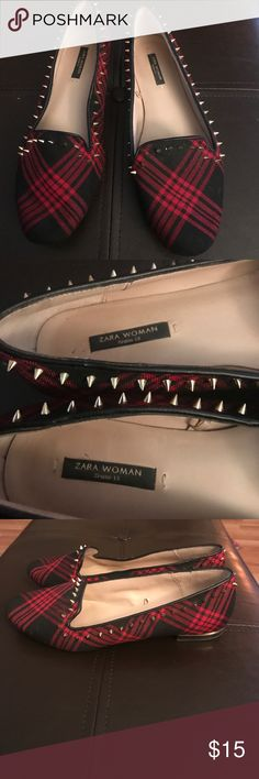 Zara spiked black and red flats woman's size 36/6 Size 36/6 Zara Shoes Flats & Loafers