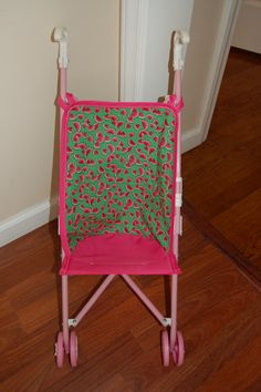 Hot Pink & Green Watermelon Doll Stroller Seat on Etsy, $9.99