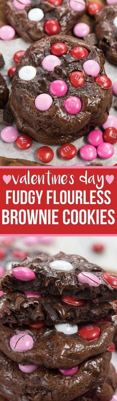 Make Valentine's Brownie Cookies for your valentine! These fudgy brownie cookies are flourless and super chocolatey and perfect for any brownie lover. They're rich and decadent and perfect for Valentine's Day with colorful red and pink M&Ms on top! Brownie Cookies, Crinkle Cookies, Chocolate Chip Cookies, Cookie Bars, Cookie Recipes, Dessert Recipes, Desserts, Baking Recipes, Easy Recipes