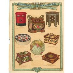 Page from a Huntley and Palmers Christmas Catalogue showing the latest novelty tins. From 1906. The offerings that year included a miniature pillar post box, a round tin designed to look like a stack of china plates, a picnic basket and a globe. Note the Syrian tin is in the top right hand corner.