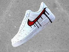 Customized Nike Air Force 1 Low with Red Black Blood Drip Design The base shoe used is the Nike Air Force 1 Low The desing is painted by special colours directly on the shoes. PROCESSING TIME you can Custom Painted Shoes, Custom Shoes, Tenis Nike Casual, How To Wash Shoes, Vans Shoes Fashion, Nike Shoes Air Force, Air Force Sneakers, Fly Shoes, Aesthetic Shoes