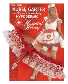 Hospital Honey Nurse Accessories by Taylor Made Events For You As if a sexy nurse costume isn't hot enough already! This nurse garter is red with lace trim. Included is an adorable pen that looks like a hypodermic needle to take down his vital stats. Get your patient's heart racing!Hospital Honey is listening to your heart beat with her ever so present stethoscope. Just listen to the rhythm!****Allow 7-14 days for shipping