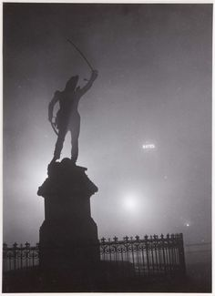 "valinaraii: "" Brassaï (Gyula Halász): The statue of Marshal Ney in the fog source "" Brassai, French Photographers, Light And Shadow, 21st Century, Old Photos, Mists, Statue Of Liberty, Art Photography, Concert"